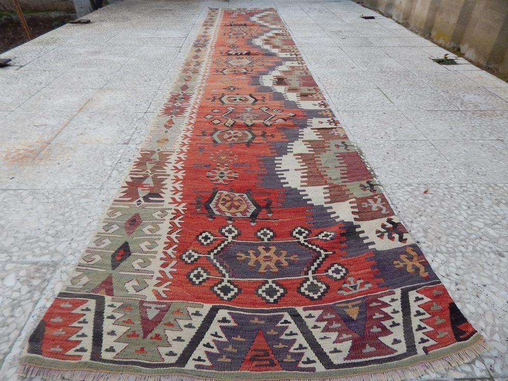 2 8 X 14 Ft Vintage Extra Long Turkish Handmade Hallway Kilim Kelim Rug Runner