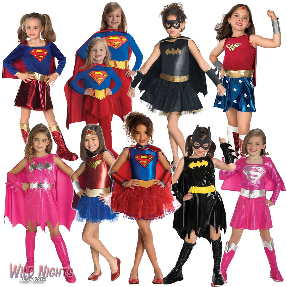 Details about Girls Superhero Fancy Dress Costume Kids