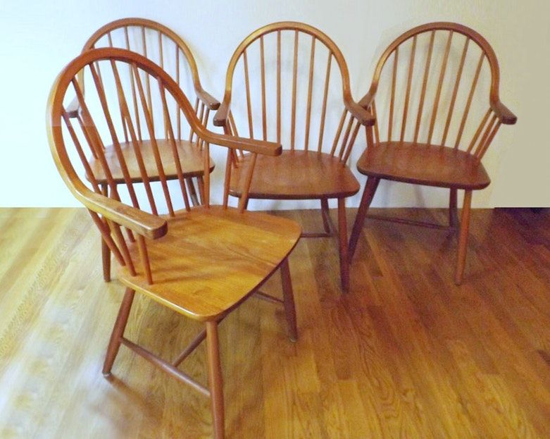 A Set Of Four Mid Century Danish Teak Chairs Marked Tarm Stole Og Mobelfabrik To The Base The Chair Teak Chairs Mid Century Danish Mid Century Lounge Chairs