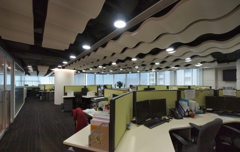 acoustic solutions office acoustics. Whisperwave Ribbon Baffles In An Office Beautiful WavePatterned Acoustical Ceiling Treatments Acoustic Solutions Acoustics