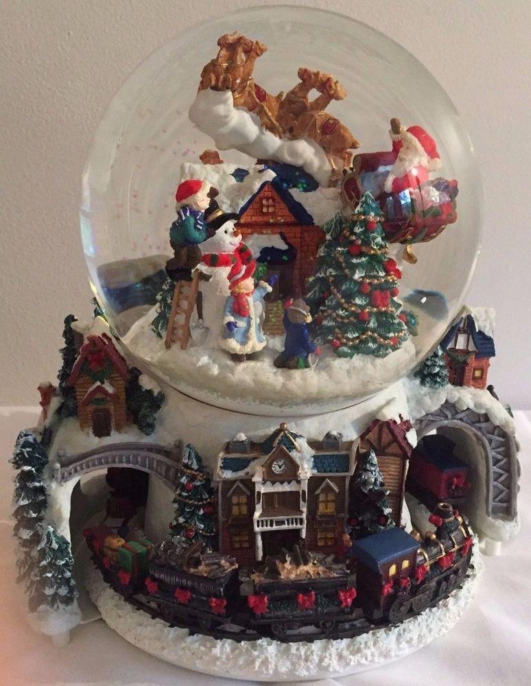 Musical Christmas Waterglobe Revolving Base Santa Reindeer Snowman ...