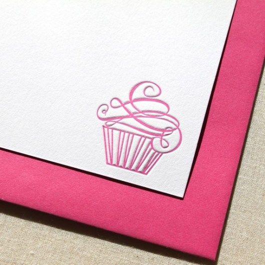 Swirly cupcake letterpress goodness by We Heart Paper