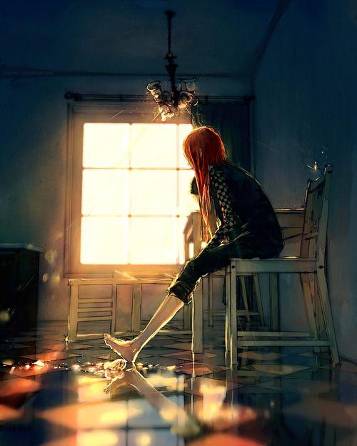 Chica mirando el tiempo pasar, miradas hacia el resplandor de la ...