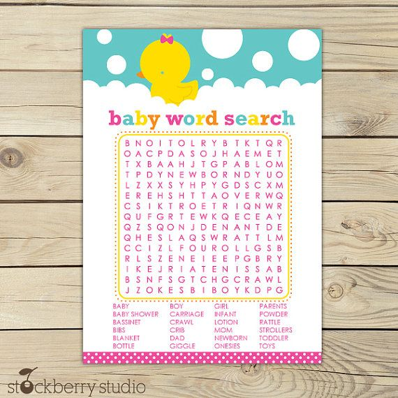 Free Baby Shower Game Print Outs | Rubber Ducky Baby Shower Printable Word  Search Game    Baby Shower Template Word