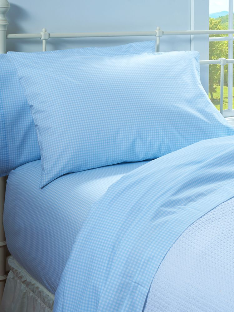 Gingham Check Percale Sheet Set These Crisp 100 Cotton Sheets Will Treat You To Cool Sleep Filled Nights Plus The Blue Checks