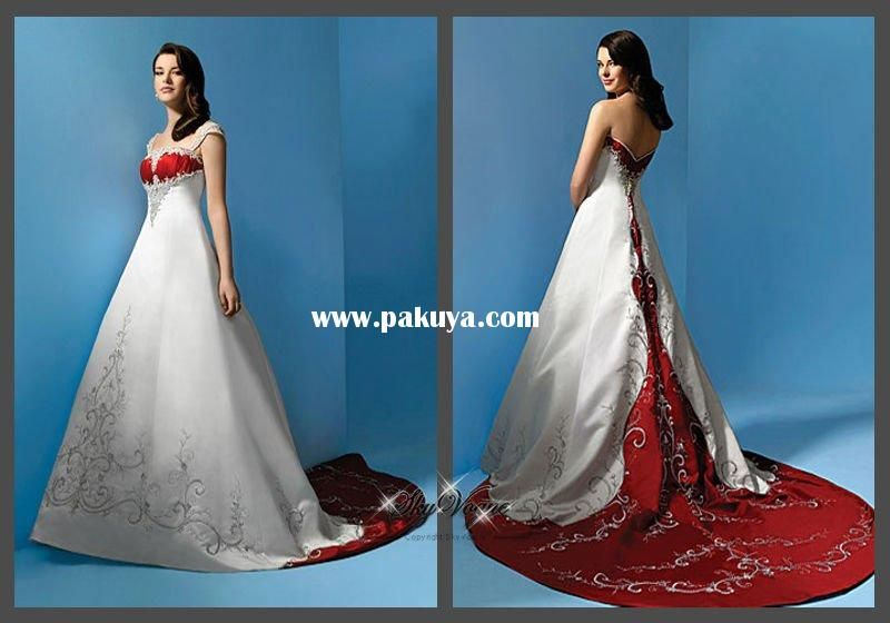 Red and white wedding dress front and back http://www ...