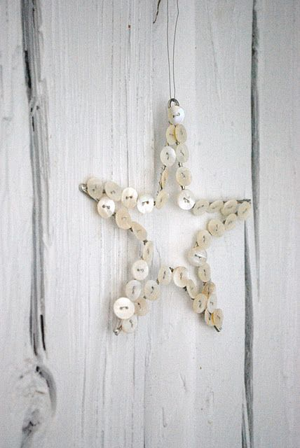 Christmas ornament made from buttons.  Would also look nice with red or green buttons or any combination of the three colours.