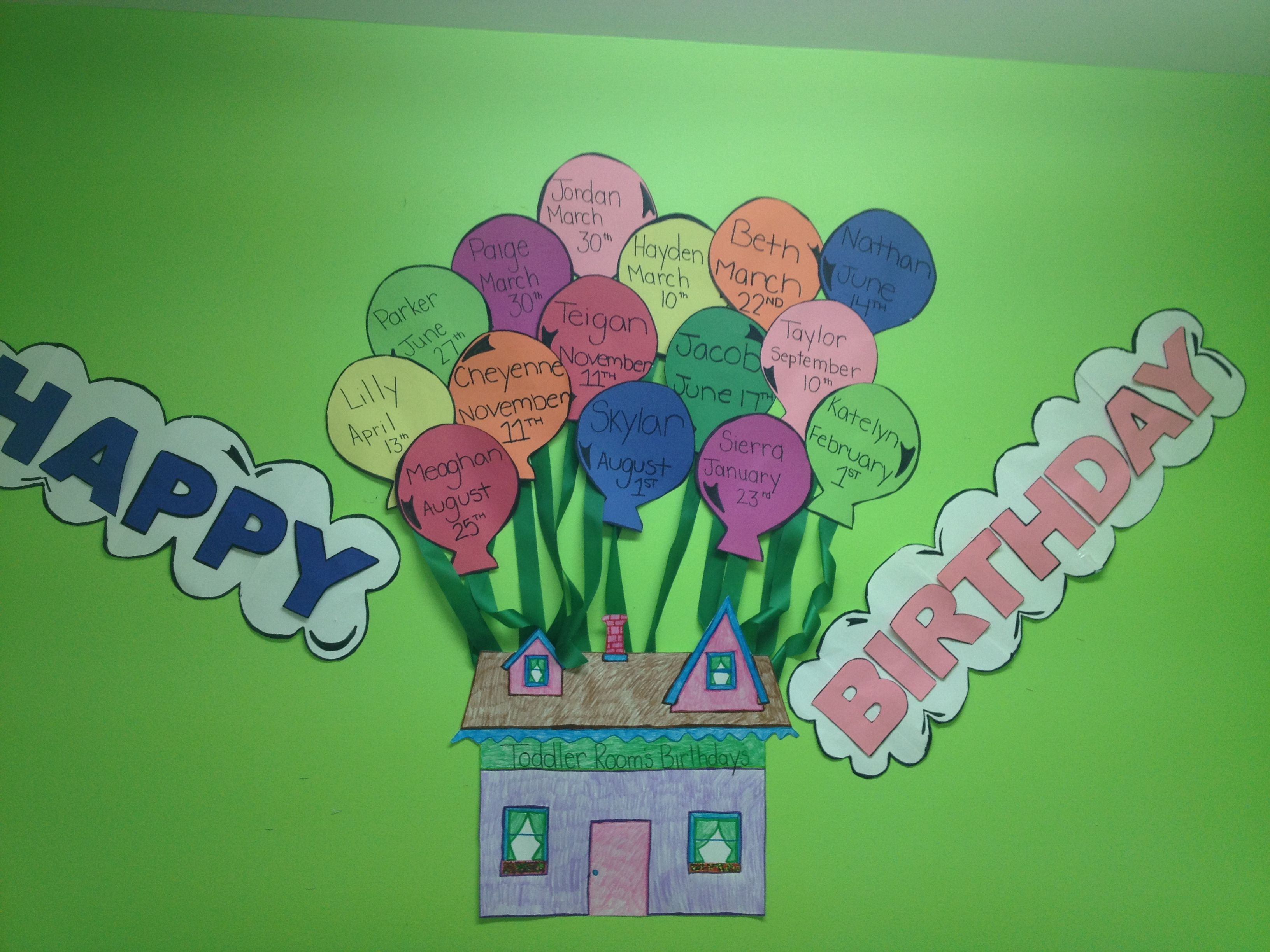 Birthday wall I made at work Toddler theme up theme Teaching
