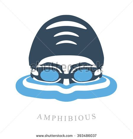 ba4bb5e681 Premium logo labels swimmer's head with glasses and cap for swimming on the  water surface with waves