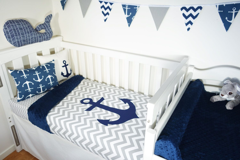 Navy and grey nautical anchor nursery set items | Pinterest | Ancla ...