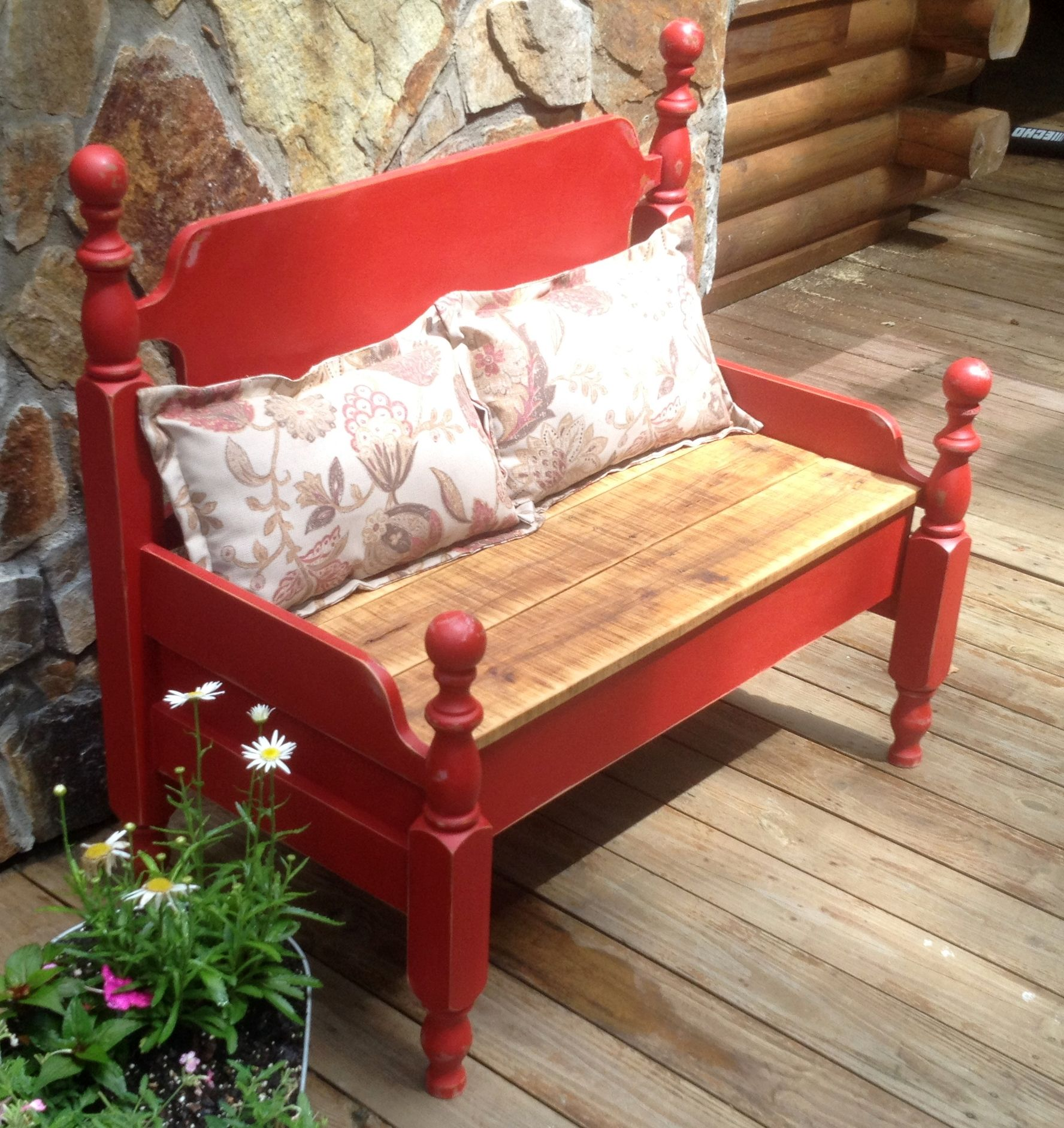 Bench   Made From An Old Twin Bed. Used Red Chalk Paint And The Seat It Made  Form Oak Planks Salvaged From Wood Pallets. Www.fancyhillfurniture.com