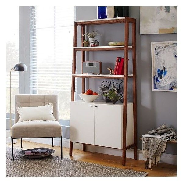 West Elm Modern Wall Cabinet Bookcase Pecan White Bookcases 9 569 885 Idr Liked On Polyvore Featuring Home Furniture Storage Shelves
