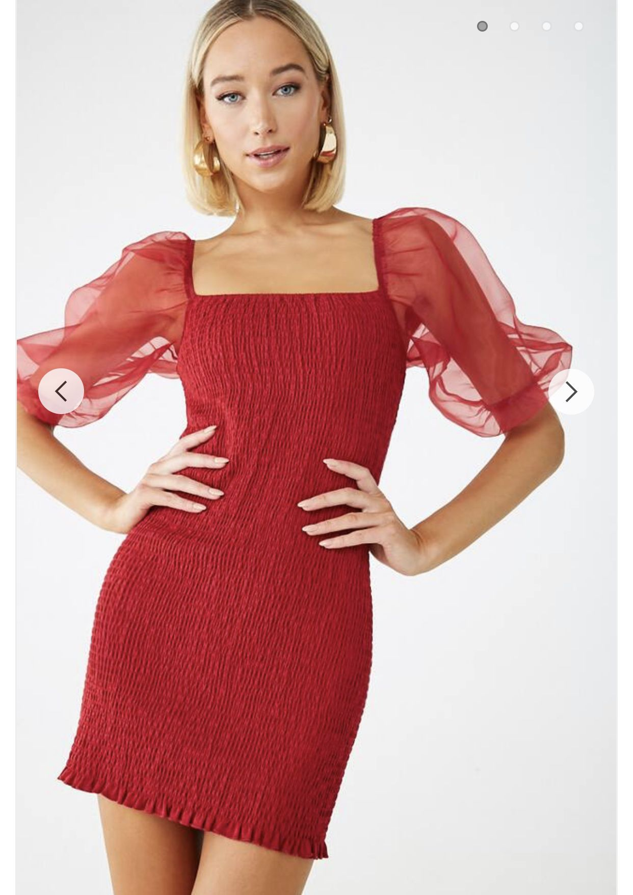 Smocked Organza Sleeve Dress Forever 21 Organza Sleeves Dresses Dresses With Sleeves [ 1757 x 1242 Pixel ]