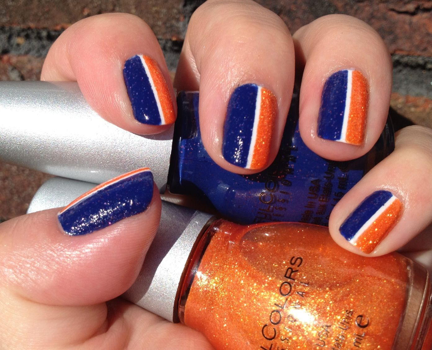 My Denver Broncos nails. Since my Panthers didn\'t make it, it\'s up ...