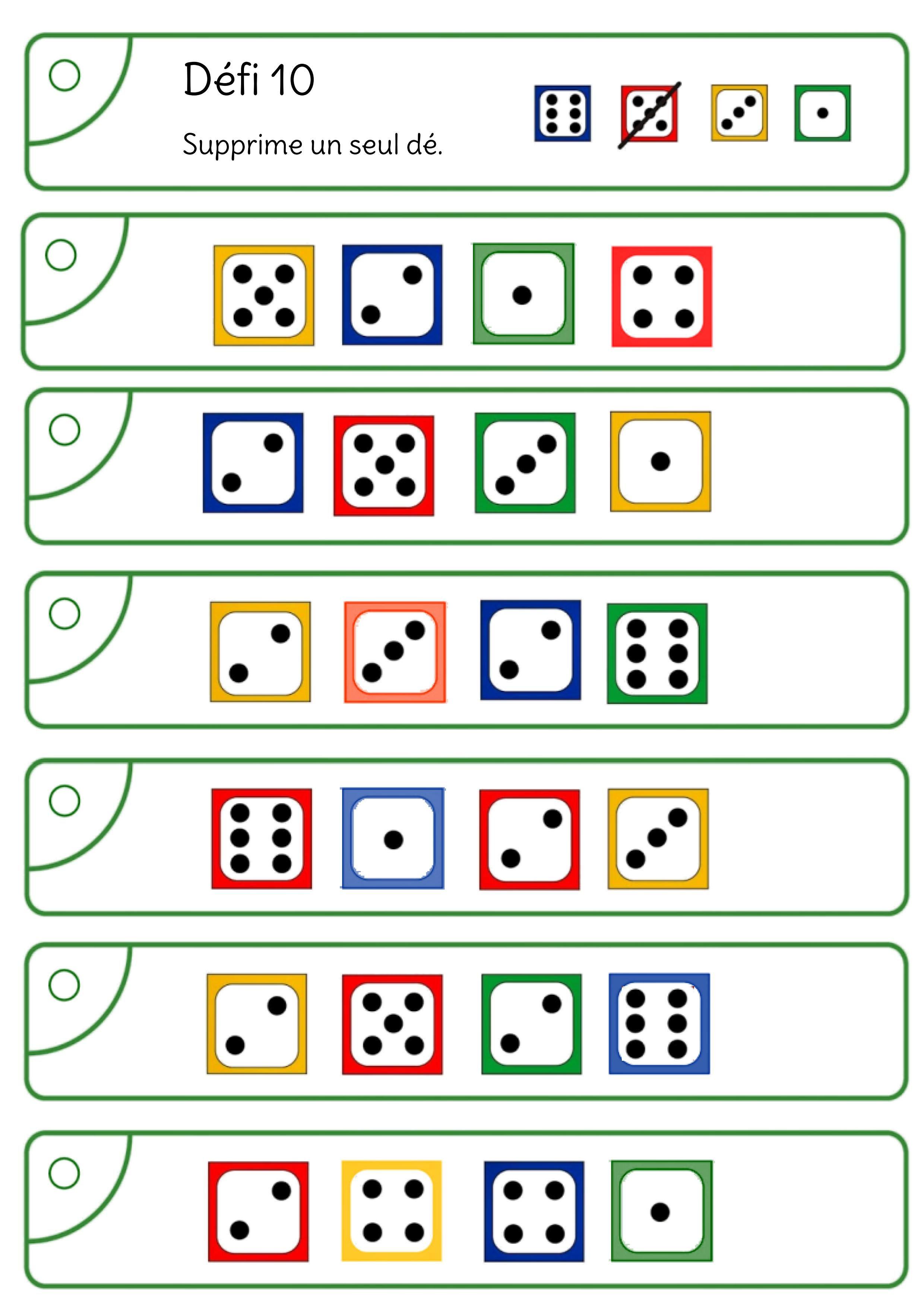 Avec les dés, atteindre 10 ou 20 | Math gs, Jeux maths ce1 ...