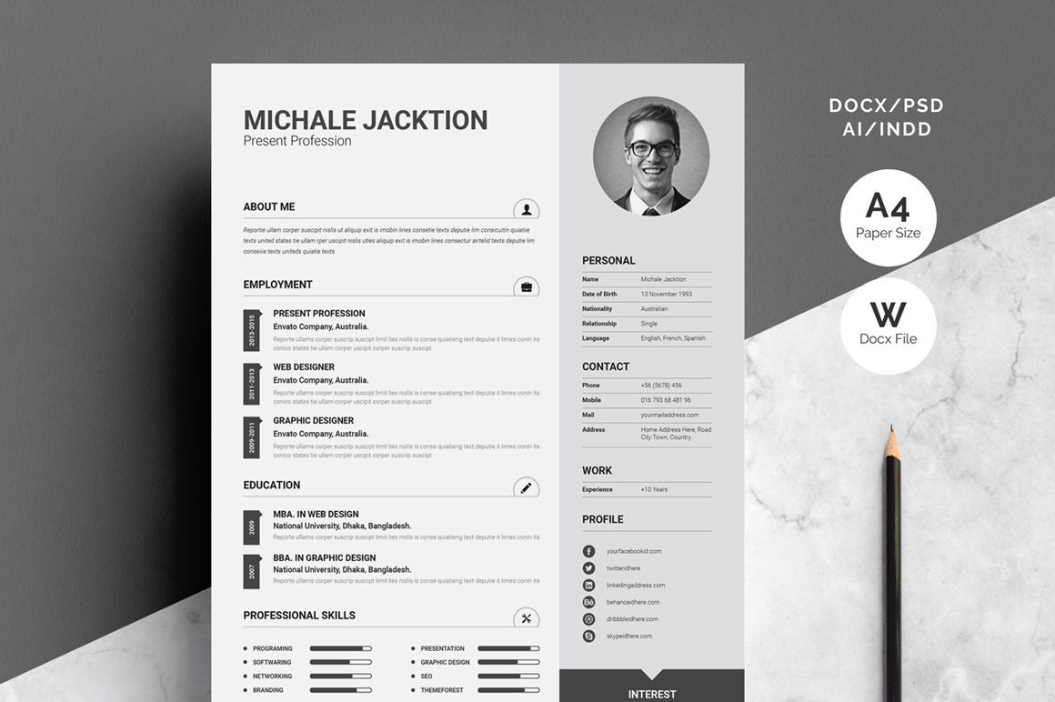 3 Piece Creative Resume Set Pixelify Best Free Fonts