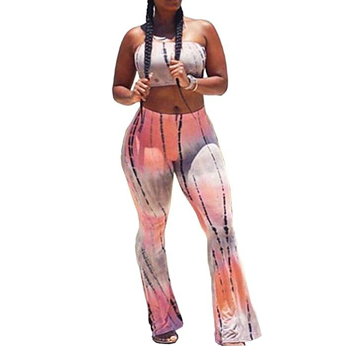 a73efedb413 Amazon.com  Bodycon4U Women s Tracksuit Sport Athletic Suit Bandeau Tube Top  and Yoga Pants Set  Clothing