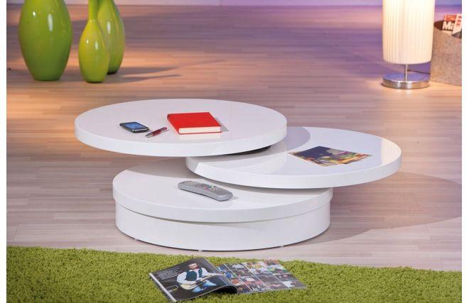 Table Basse Design Laque Plateau Pivotant Blanc Silky Miliboo Table Basse Design Table Basse Table Basse Ronde