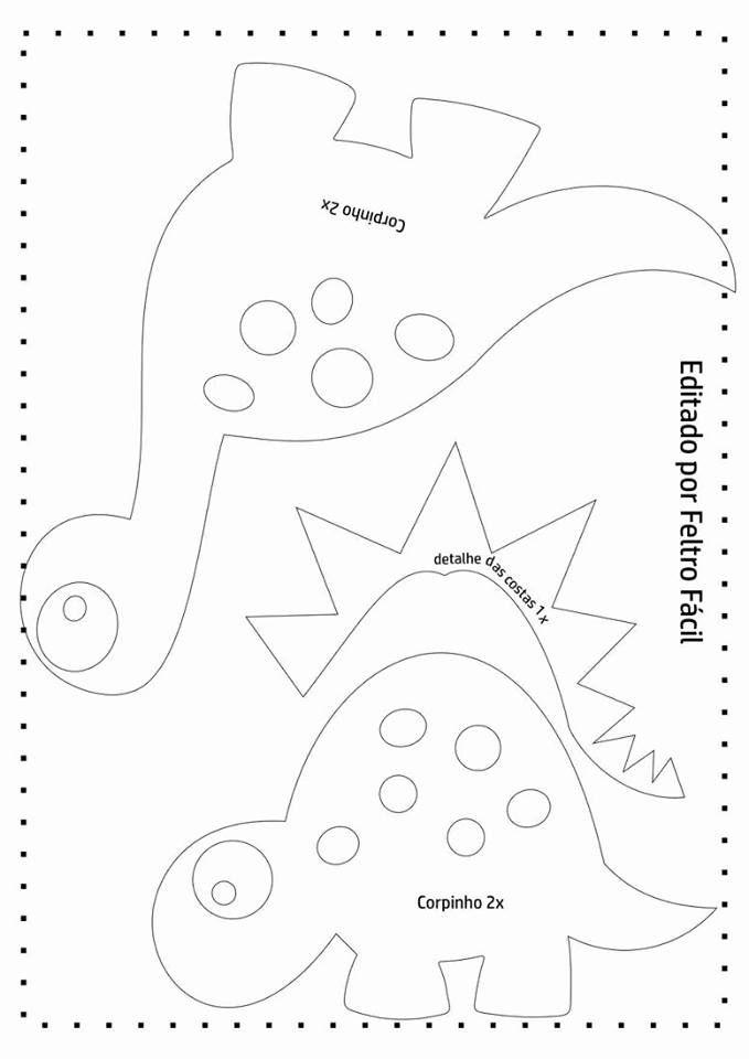 Dinosaurios de fieltro hechos con moldes Related Post Molde para ...