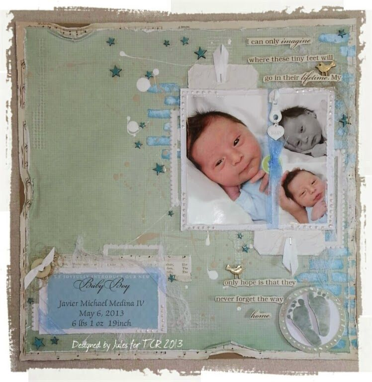 """Baby Boy, Footprints"" LO for ""The Color Room"" - Scrapbook.com (Like the journaling along the left had side)"