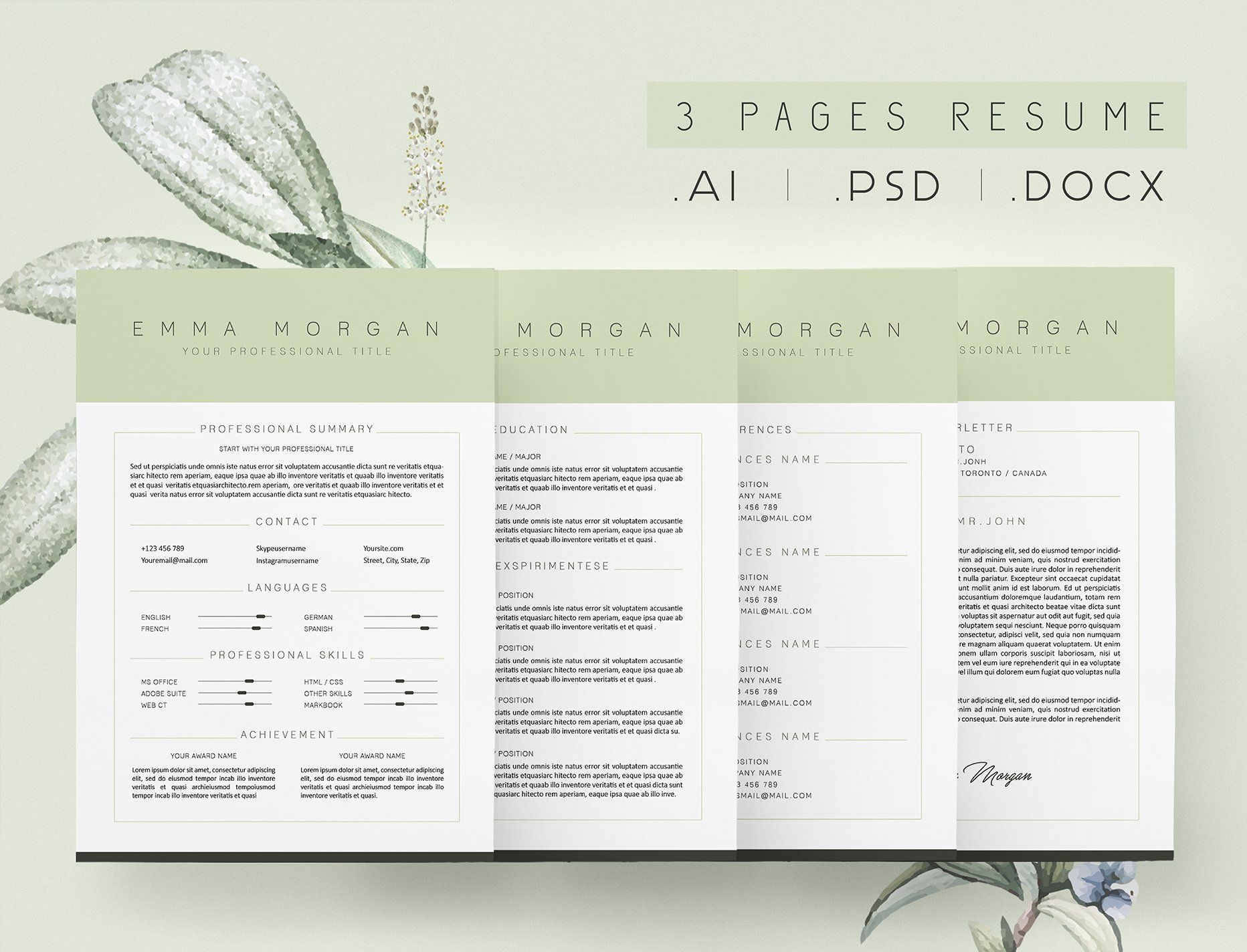3 Page Green Resume Cv Template M Cv Template Resume Template Resume