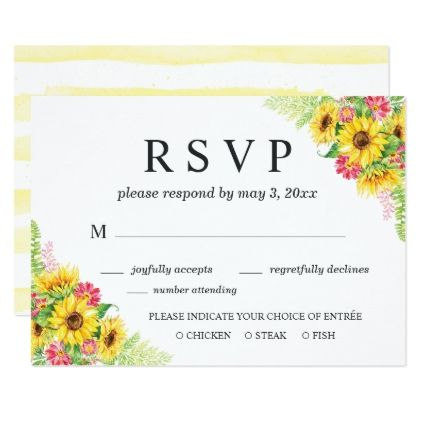 Sunflower wedding rsvp card with dinner choice sunflower wedding rsvp card with dinner choice wedding invitations cards custom invitation card design marriage stopboris Image collections
