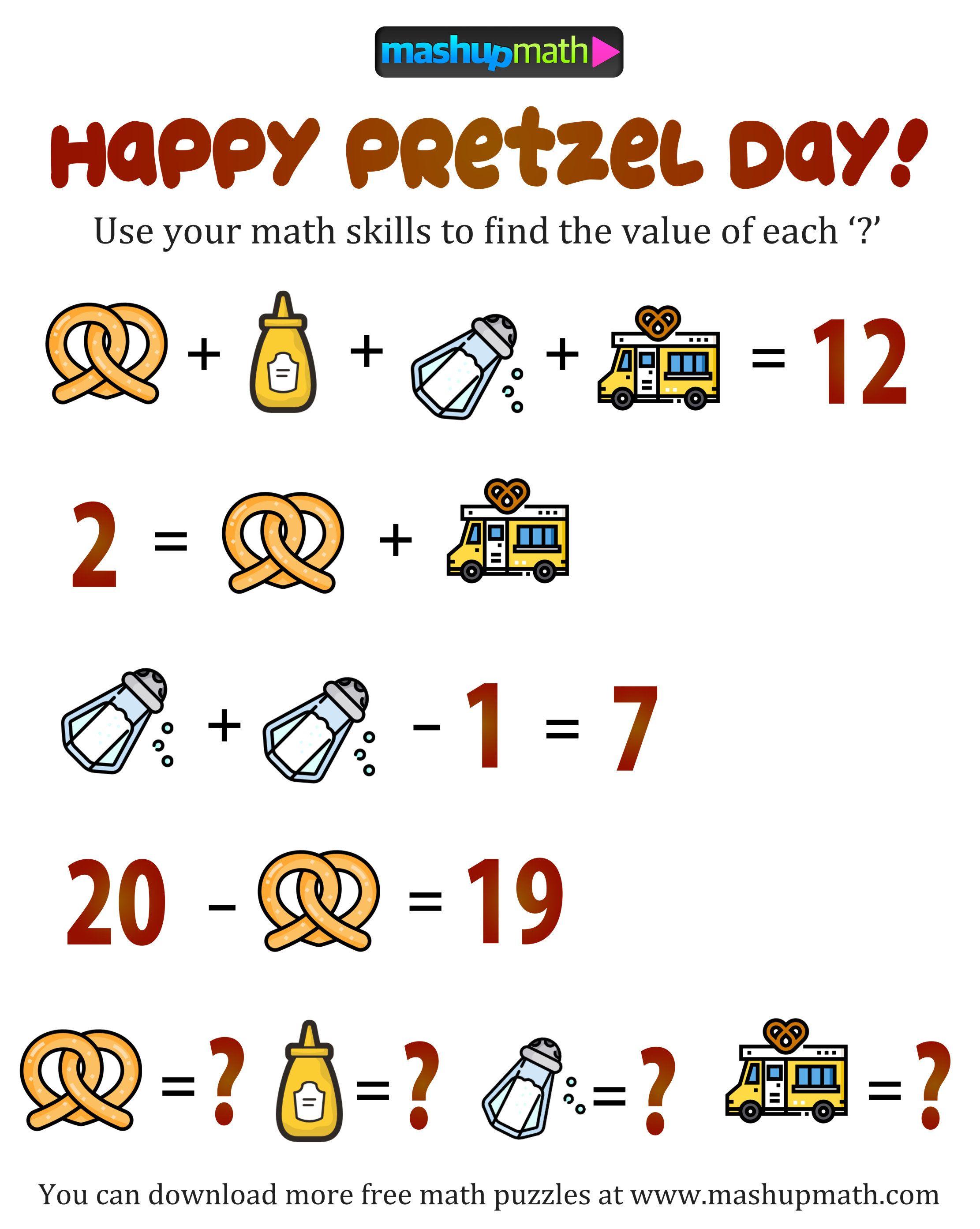 Pretzel Day Math Puzzle Math Challenge 2nd Grade Math Kids Math Worksheets [ 2786 x 2222 Pixel ]