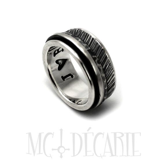 Spinner ring 10 mm 3 silver spinners 2 engravings or by MCDecarie