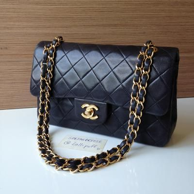 59ccf2a37315 Chanel Vintage Black Lambskin Small Classic Double Flap Bag ...