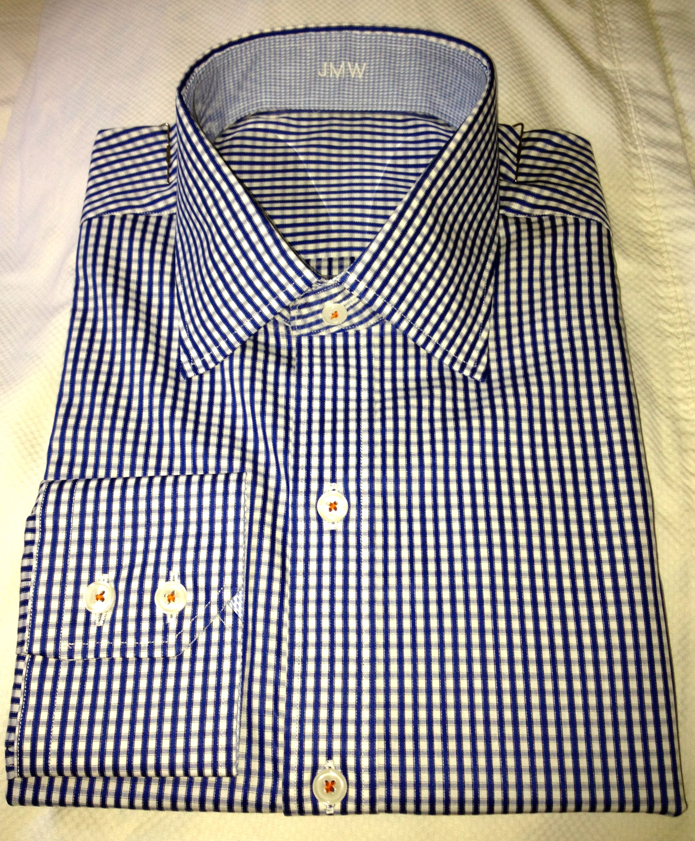 J. Hilburn Custom Shirt - White/Royal Twin Dobby Check with Contrast Stitching in Orange.