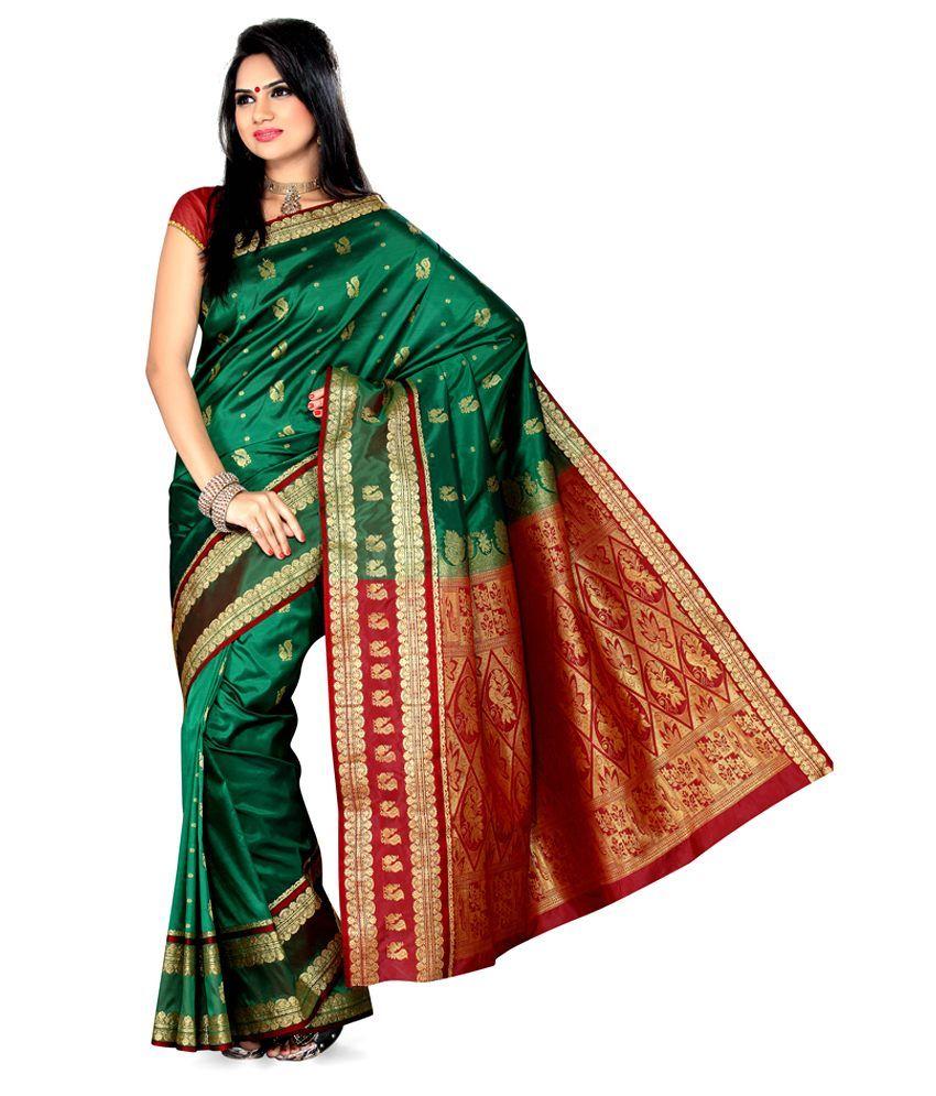 1feda081f1 Ishin Green Silk Saree   sarees   Saree, Silk sarees, Green silk