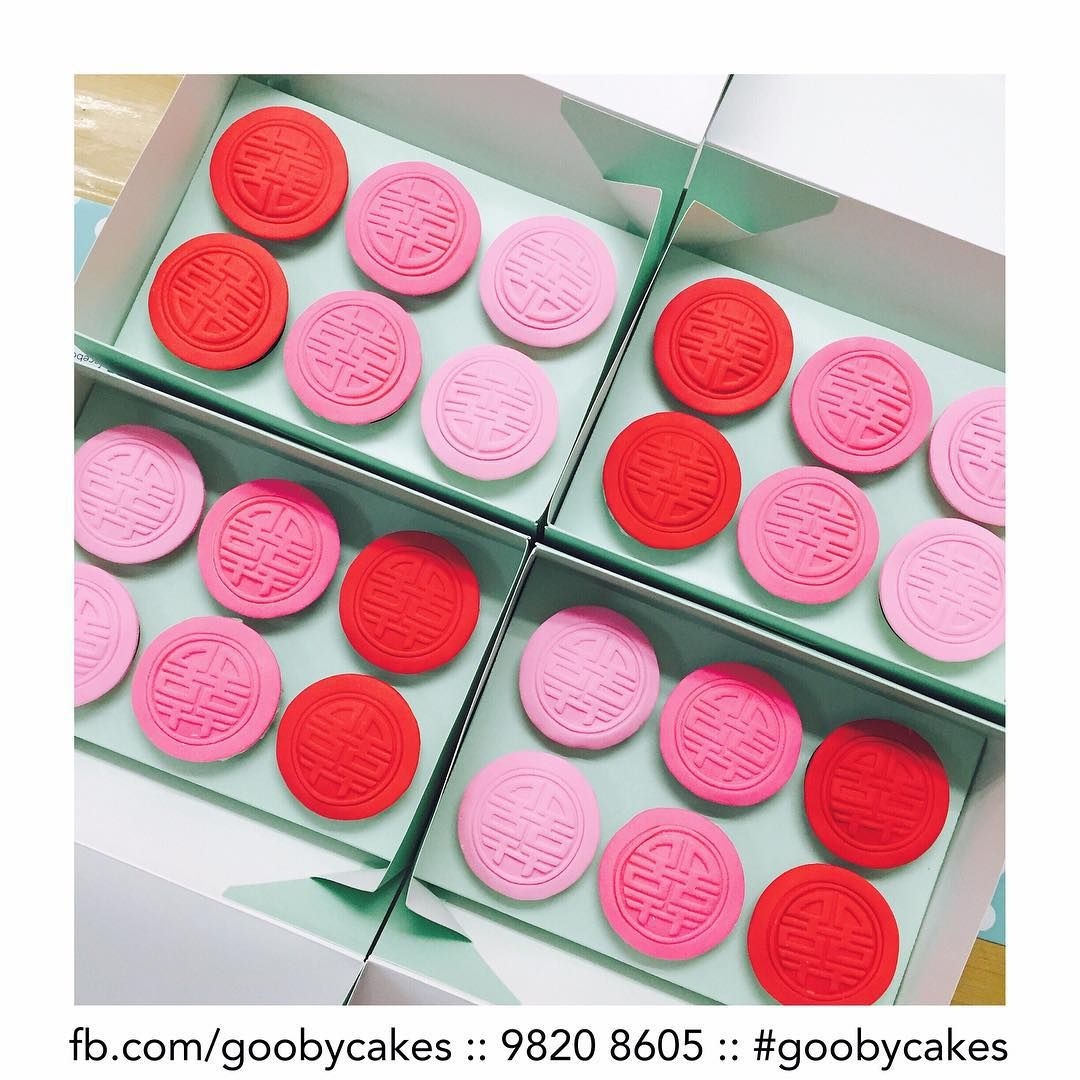 Ombré pink to red XI cupcakes! Giving traditional 喜饼 a modern ...
