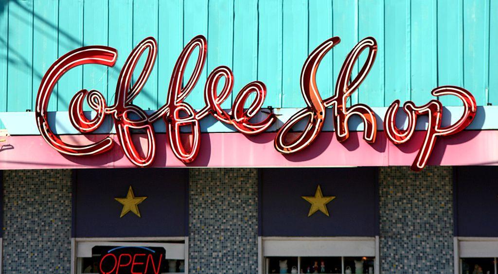 Coffee shop great lettering vintage neon signs retro