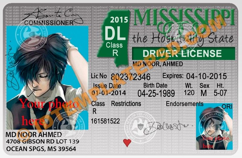 this is mississippi  usa state  drivers license psd