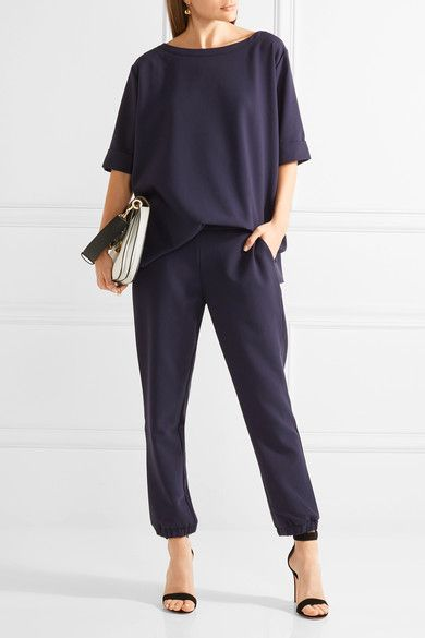 Hatch - The Mirabelle Stretch-crepe Track Pants - Midnight blue -