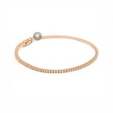 Κομψή ιταλική ριβιέρα ροζ χρυσή Κ18 Davite  amp  Delucchi με διαμάντια και  ασφαλές κούμπωμα  5cae7f6dea4