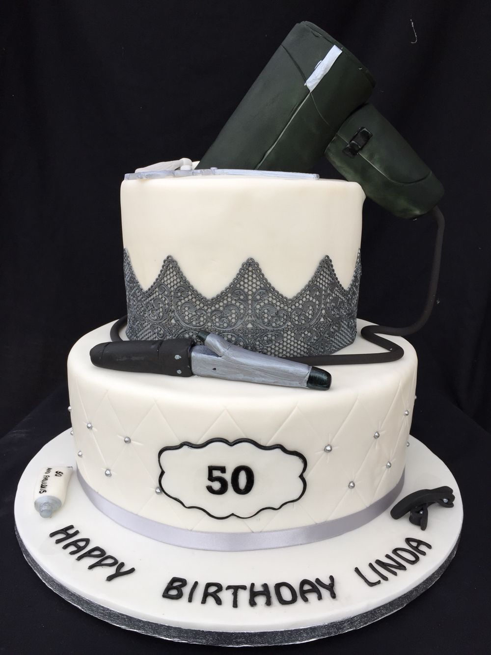 3 Tier 50th Birthday Cake With A Hairdresser Theme
