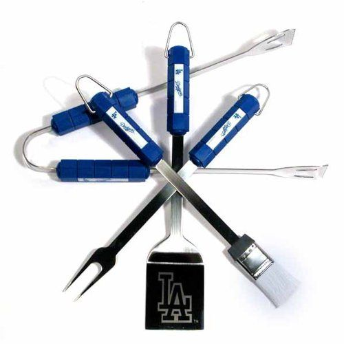 MLB Los Angeles Dodgers Four Piece Stainless Steel BBQ Set BBQ Grill Set 6 x 15in * Read more reviews of the product by visiting the link on the image.