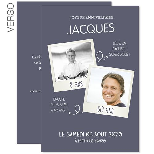 Bien-aimé Invitations Anniversaire Adulte - 60 PolaParty 43321 | divers  BL03
