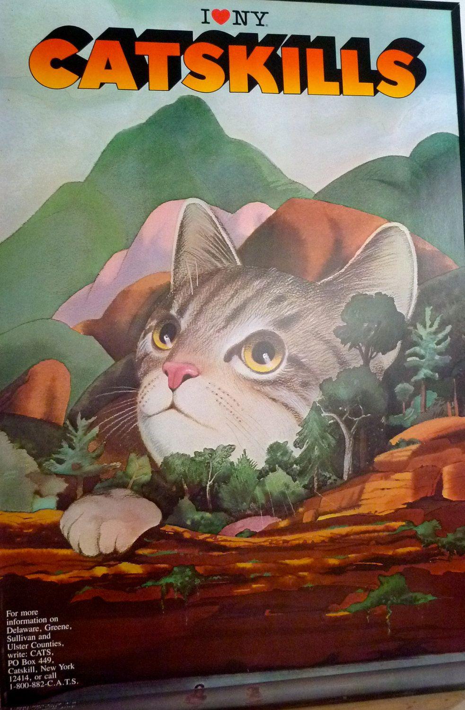 Milton Glaser 'I Love NY' Catskills Cats Poster. Tourism