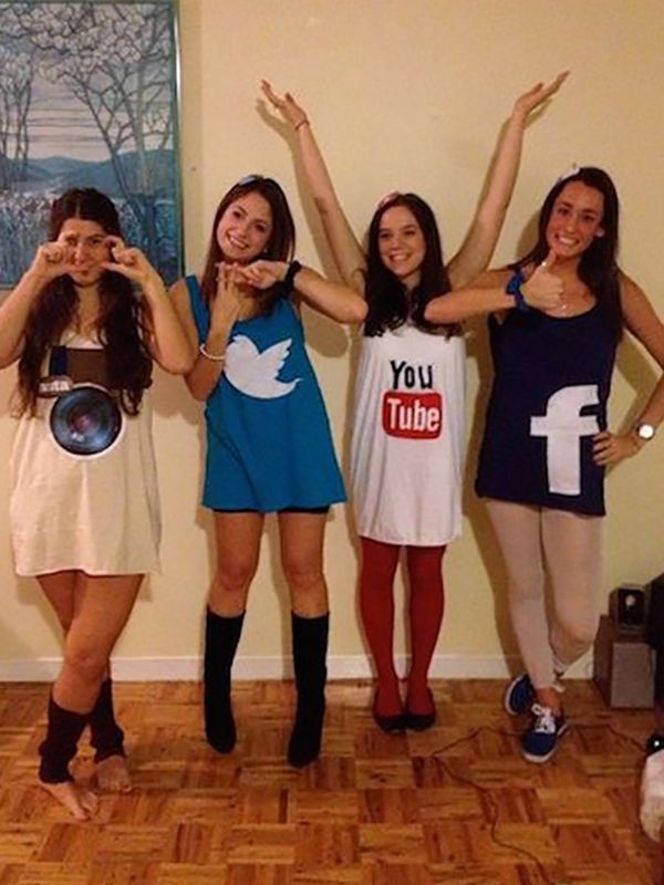 Social media icons are an easy costume that you can make for Halloween decorations you can make at home