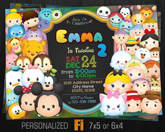 Tsum Tsum Ideas Para Fiestas: Invitación De TSUM Tsum, Tsum Tsum Fiesta De Cumpleaños