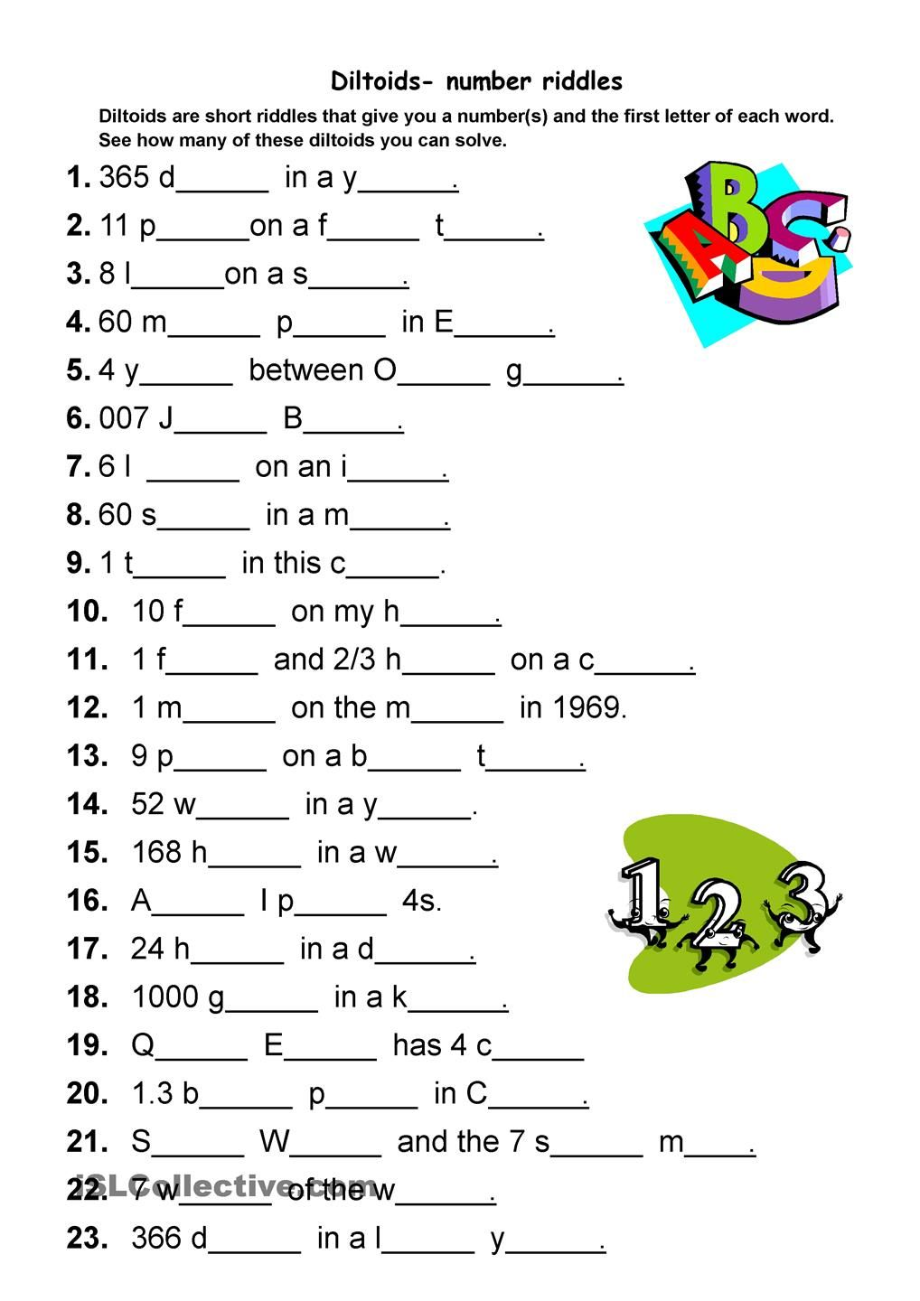 Diltoids NumberLetter Puzzles  Activities Riddles Quizzes