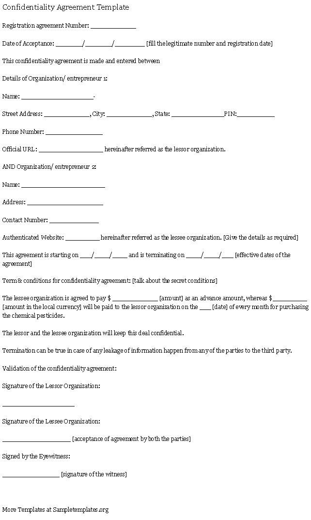 confidentiality agreement template  confidentiality  agreement  template