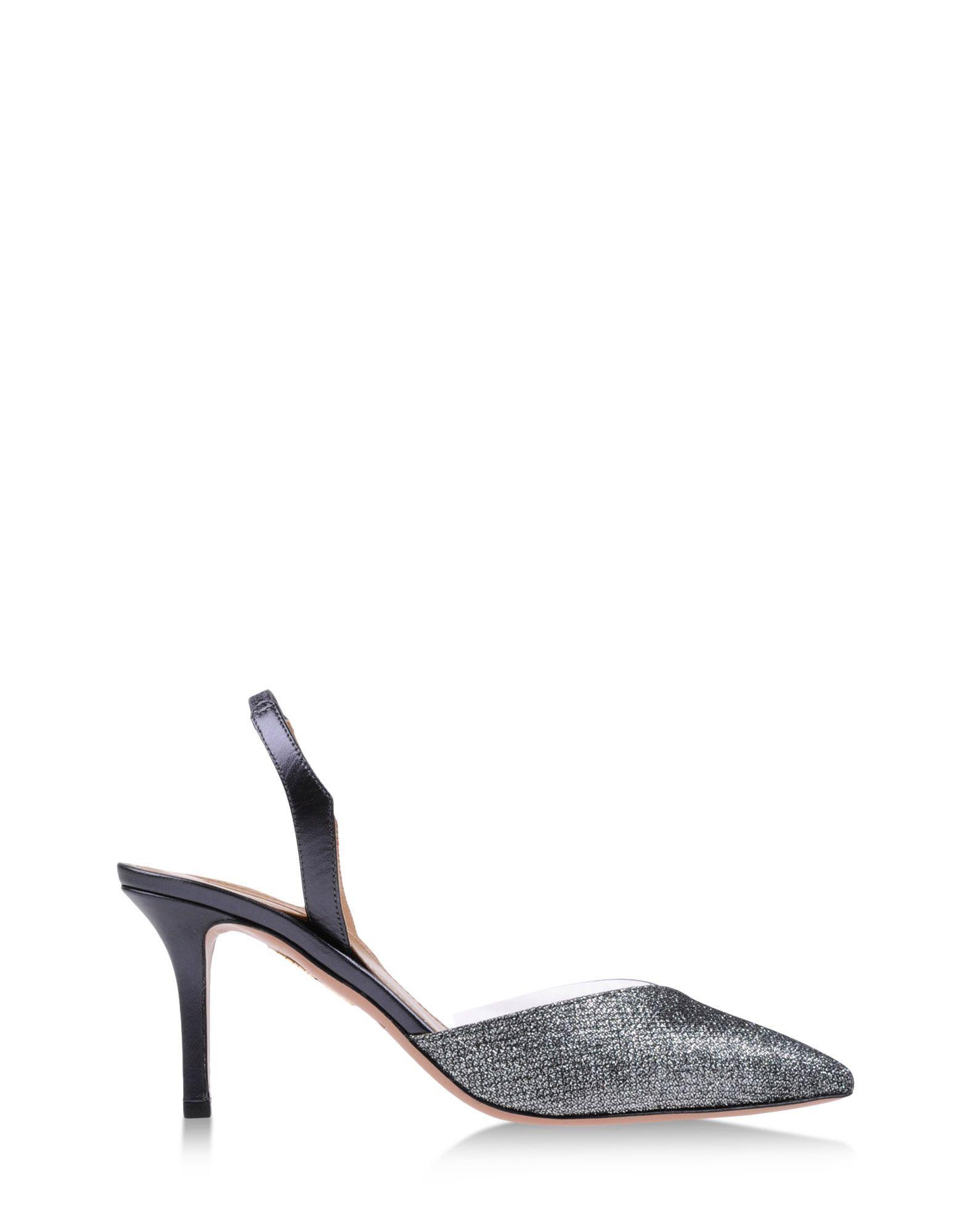 Metallic Shoes at #ShopBAZAAR - Aquazzura Silver  Slingback Kitten Heels