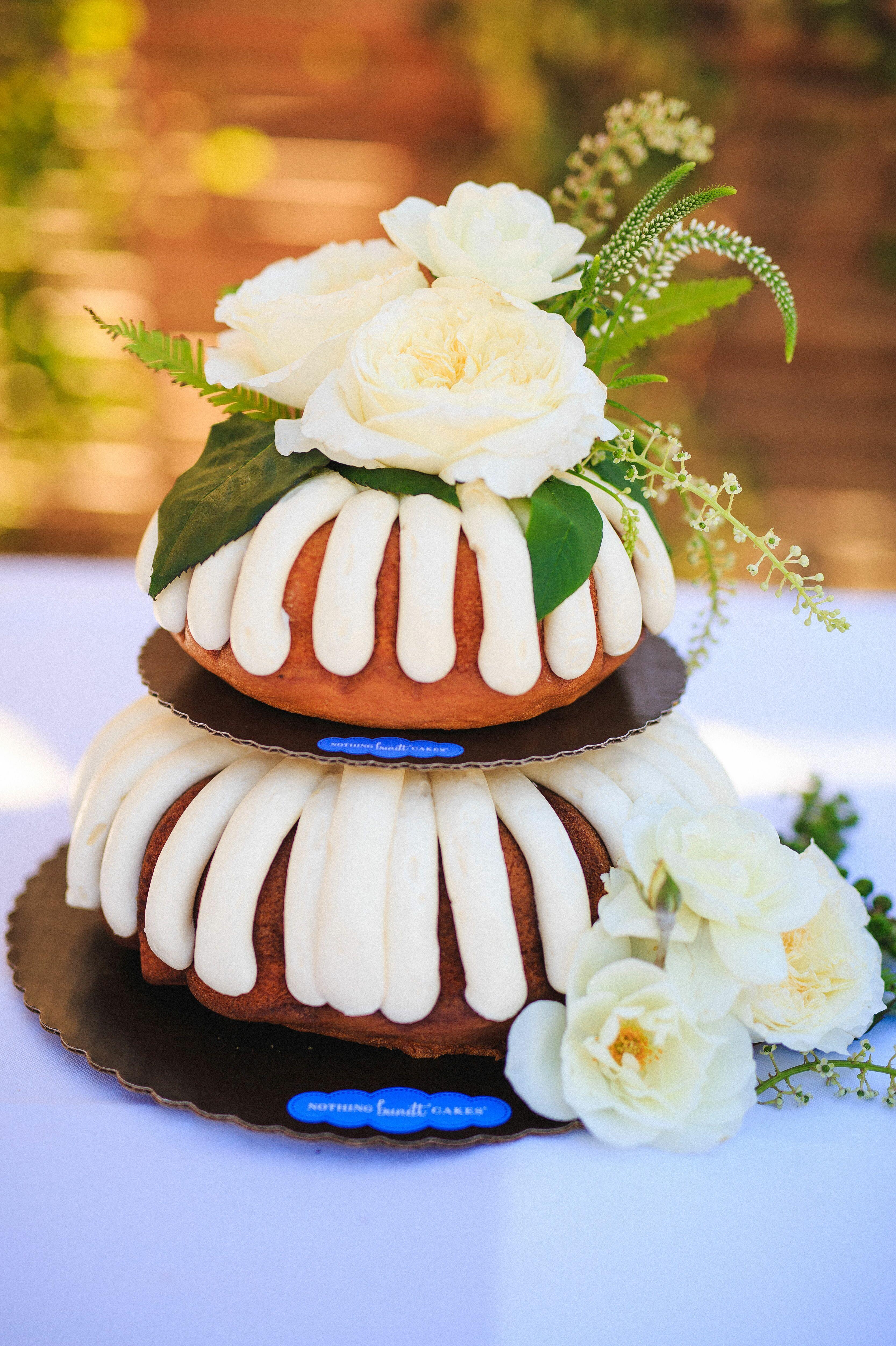 Bundt cake ivory rose accents wedding desserts nothing