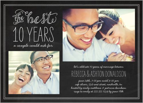 10th Wedding Anniversary Invitations: Best Years 5x7 Stationery Card By Stacy Claire Boyd
