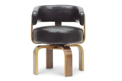 Baxton Studio Fortson Walnut and Black Modern Accent Chair