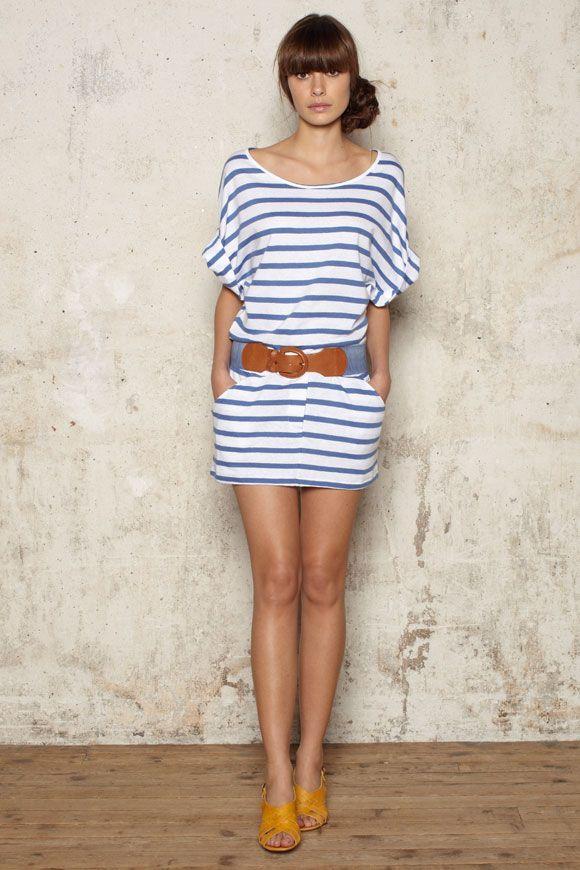 26e738c4e30  robe  marinière ceinturée et chaussures  vintage stripes dress by Sessun