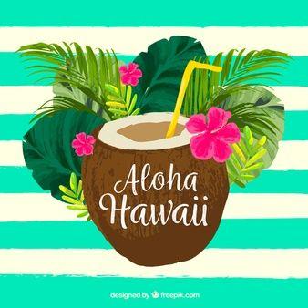 Cor Da Agua Fundo De Aloha De Coco Ilustracao Tropical Arte Havaiana Tatuagem De Frutas